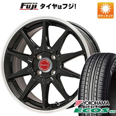 タイヤはフジ 送料無料 LEHRMEISTER レアマイスター LMスポーツRS10(グロスブラックリムポリッシュ) 5J 5.00-15 YOKOHAMA エコス ES31 165/50R15 15インチ サマータイヤ ホイール4本セット