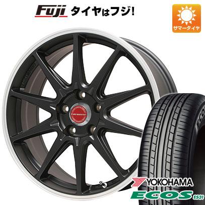 タイヤはフジ 送料無料 LEHRMEISTER レアマイスター LMスポーツRS10(マットブラックリムポリッシュ) 7.5J 7.50-17 YOKOHAMA エコス ES31 215/55R17 17インチ サマータイヤ ホイール4本セット