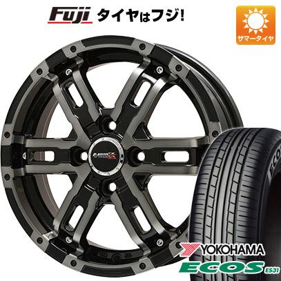 タイヤはフジ 送料無料 BIGWAY ビッグウエイ B-MUD Z(ブラックポリッシュ/ブラッククリア) 4.5J 4.50-14 YOKOHAMA エコス ES31 165/55R14 14インチ サマータイヤ ホイール4本セット