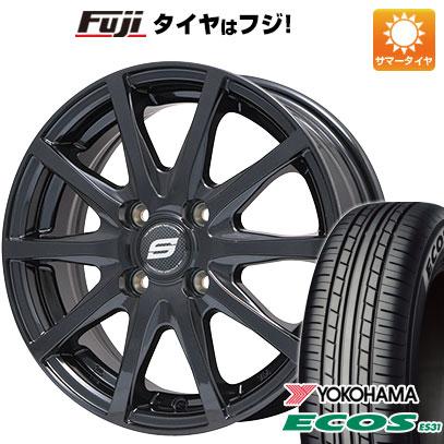 タイヤはフジ 送料無料 BRANDLE ブランドル M71B 4.5J 4.50-14 YOKOHAMA エコス ES31 155/65R14 14インチ サマータイヤ ホイール4本セット