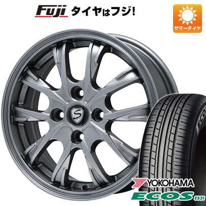 タイヤはフジ 送料無料 BRANDLE ブランドル 486 4.5J 4.50-14 YOKOHAMA エコス ES31 165/55R14 14インチ サマータイヤ ホイール4本セット