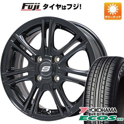 タイヤはフジ 送料無料 BRANDLE ブランドル M68B 5.5J 5.50-14 YOKOHAMA エコス ES31 175/65R14 14インチ サマータイヤ ホイール4本セット