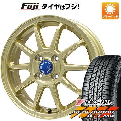 タイヤはフジ 送料無料 BRANDLE-LINE ブランドルライン カルッシャー ゴールド 4.5J 4.50-15 YOKOHAMA ジオランダー A/T G015 RBL(限定) 165/60R15 15インチ サマータイヤ ホイール4本セット