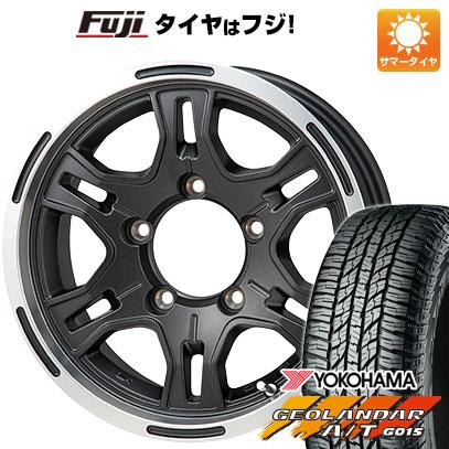 タイヤはフジ 送料無料 ジムニーシエラ MONZA モンツァ HI-BLOCK レックス 6J 6.00-15 YOKOHAMA ジオランダー A/T G015 RBL 195/80R15 15インチ サマータイヤ ホイール4本セット