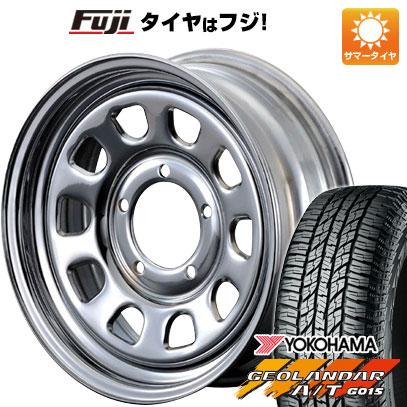 タイヤはフジ 送料無料 ジムニー MOTOR FARM DAYTONA クローム 5.5J 5.50-16 YOKOHAMA ジオランダー A/T G015 RBL 175/80R16 16インチ サマータイヤ ホイール4本セット