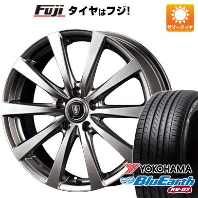 タイヤはフジ 送料無料 MID ユーロスピード G10 7J 7.00-17 YOKOHAMA ブルーアース RV-02 225/60R17 17インチ サマータイヤ ホイール4本セット