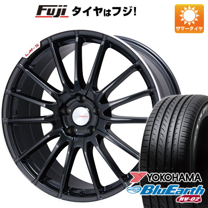 タイヤはフジ 送料無料 LEHRMEISTER LM-S トレント15 (ブラック/リムポリッシュ) 7J 7.00-17 YOKOHAMA ブルーアース RV-02 215/60R17 17インチ サマータイヤ ホイール4本セット