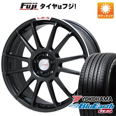 タイヤはフジ 送料無料 LEHRMEISTER LM-S トスカーナ6 (ブラック/リムポリッシュ) 7J 7.00-17 YOKOHAMA ブルーアース RV-02 215/55R17 17インチ サマータイヤ ホイール4本セット