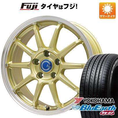 タイヤはフジ 送料無料 BRANDLE-LINE ブランドルライン カルッシャー ゴールド/リムポリッシュ 7.5J 7.50-18 YOKOHAMA ブルーアース RV-02 235/55R18 18インチ サマータイヤ ホイール4本セット