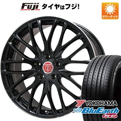 タイヤはフジ 送料無料 PREMIX プレミックス グラッパ(ブラック/リムポリッシュ) 7.5J 7.50-19 YOKOHAMA ブルーアース RV-02 225/40R19 19インチ サマータイヤ ホイール4本セット