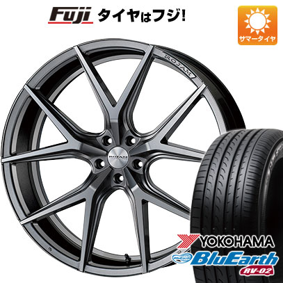 タイヤはフジ 送料無料 ROJAM ロジャム アビー 7J 7.00-18 YOKOHAMA ブルーアース RV-02 225/55R18 18インチ サマータイヤ ホイール4本セット