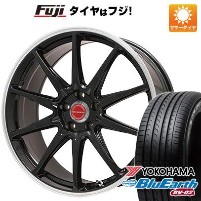 タイヤはフジ 送料無料 LEHRMEISTER レアマイスター LMスポーツRS10(グロスブラックリムポリッシュ) 7.5J 7.50-17 YOKOHAMA ブルーアース RV-02 215/55R17 17インチ サマータイヤ ホイール4本セット