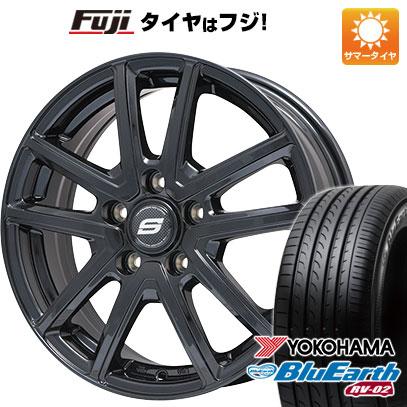 タイヤはフジ 送料無料 BRANDLE ブランドル M61B 6.5J 6.50-16 YOKOHAMA ブルーアース RV-02 195/60R16 16インチ サマータイヤ ホイール4本セット