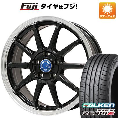 タイヤはフジ 送料無料 BRANDLE-LINE カルッシャー ブラック/リムポリッシュ 7.5J 7.50-18 FALKEN ジークス ZE914F 215/45R18 18インチ サマータイヤ ホイール4本セット