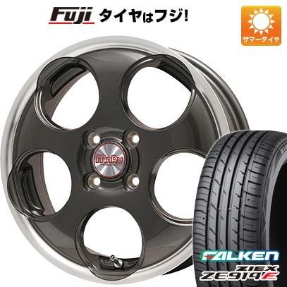 タイヤはフジ 送料無料 PREMIX マル(ガンメタ/リムポリッシュ) 4.5J 4.50-15 FALKEN ジークス ZE914F 165/55R15 15インチ サマータイヤ ホイール4本セット