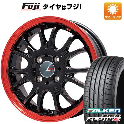 タイヤはフジ 送料無料 ヴァッサーノ(ブラック/レッドクリア) 4.5J 4.50-15 FALKEN ジークス ZE914F 165/55R15 15インチ サマータイヤ ホイール4本セット