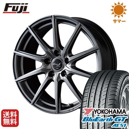タイヤはフジ 送料無料 MID ユーロストリーム JL10 6J 6.00-15 YOKOHAMA ブルーアース GT AE51 195/60R15 15インチ サマータイヤ ホイール4本セット