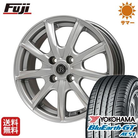 タイヤはフジ 送料無料 BRANDLE-LINE ブランドルライン ボレアノ9 メタリックグレー 4.5J 4.50-15 YOKOHAMA ブルーアース GT AE51 165/55R15 15インチ サマータイヤ ホイール4本セット