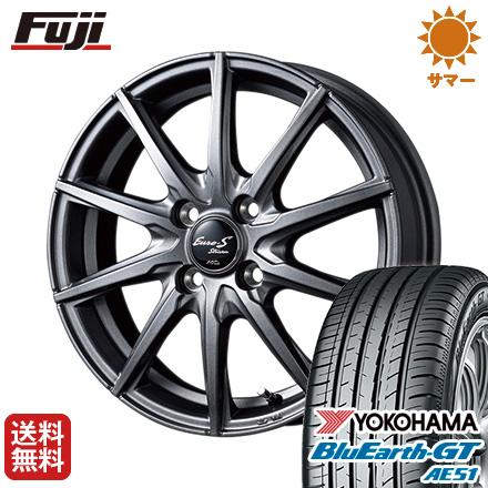 タイヤはフジ 送料無料 MID ユーロストリーム JL10 5.5J 5.50-15 YOKOHAMA ブルーアース GT AE51 185/55R15 15インチ サマータイヤ ホイール4本セット