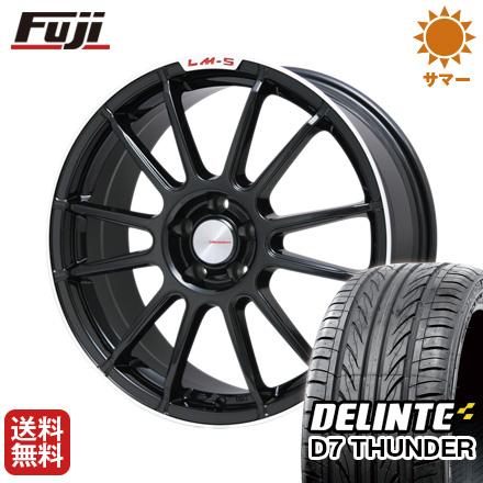 タイヤはフジ 送料無料 LEHRMEISTER LM-S トスカーナ6 (ブラック/リムポリッシュ) 7J 7.00-17 DELINTE デリンテ D7 サンダー(限定) 215/55R17 17インチ サマータイヤ ホイール4本セット