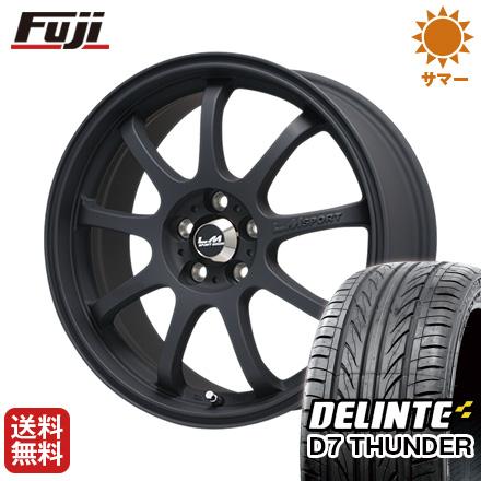 タイヤはフジ 送料無料 LEHRMEISTER レアマイスター LMスポーツファイナル(マットブラック) 7.5J 7.50-18 DELINTE デリンテ D7 サンダー(限定) 225/45R18 18インチ サマータイヤ ホイール4本セット
