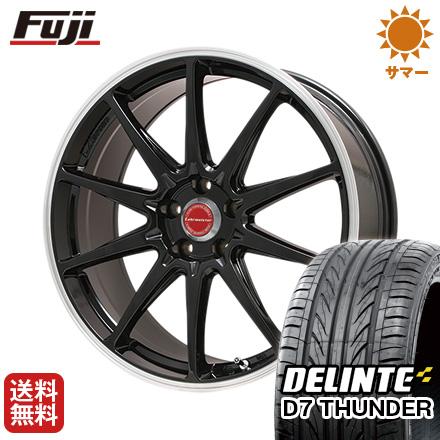 タイヤはフジ 送料無料 LEHRMEISTER レアマイスター LMスポーツRS10(グロスブラックリムポリッシュ) 7.5J 7.50-17 DELINTE デリンテ D7 サンダー(限定) 225/55R17 17インチ サマータイヤ ホイール4本セット