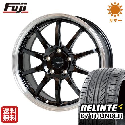 タイヤはフジ 送料無料 HOT STUFF ホットスタッフ ジースピード P-04 7.5J 7.50-18 DELINTE デリンテ D7 サンダー(限定) 215/40R18 18インチ サマータイヤ ホイール4本セット