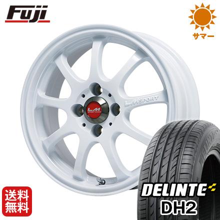 タイヤはフジ 送料無料 LEHRMEISTER LMスポーツファイナル(ホワイト) 4.5J 4.50-14 DELINTE デリンテ DH2(限定) 155/65R14 14インチ サマータイヤ ホイール4本セット