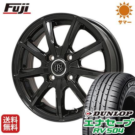 タイヤはフジ 送料無料 ソリオ(MA36S) BRANDLE-LINE ブランドルライン ボレアノ9 パールブラック 4.5J 4.50-15 DUNLOP エナセーブ RV504 165/65R15 15インチ サマータイヤ ホイール4本セット