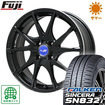 タイヤはフジ 送料無料 LEHRMEISTER レアマイスター LMスポーツクロス10 ブラックパール 4.5J 4.50-14 FALKEN シンセラ SN832i 165/55R14 14インチ サマータイヤ ホイール4本セット