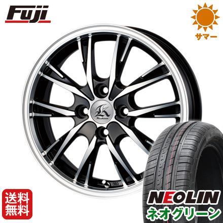 タイヤはフジ 送料無料 TECHNOPIA テクノピア カシーナ XV-5 4.5J 4.50-14 NEOLIN ネオリン ネオグリーン(限定) 165/55R14 14インチ サマータイヤ ホイール4本セット