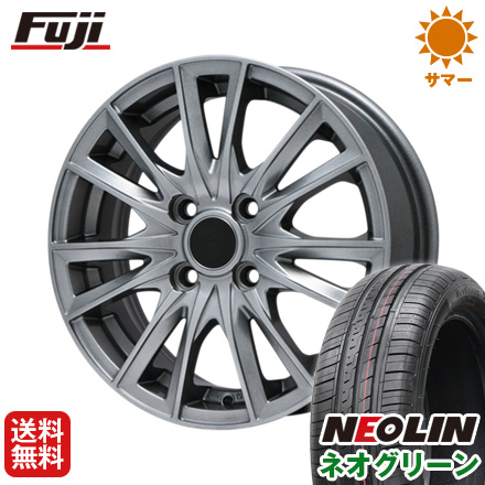 タイヤはフジ 送料無料 BRANDLE ブランドル 485 5J 5.00-15 NEOLIN ネオリン ネオグリーン(限定) 165/50R15 15インチ サマータイヤ ホイール4本セット