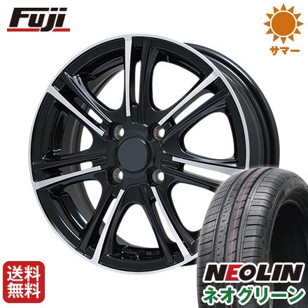 タイヤはフジ 送料無料 BRANDLE ブランドル M68BP 4.5J 4.50-14 NEOLIN ネオリン ネオグリーン(限定) 165/55R14 14インチ サマータイヤ ホイール4本セット