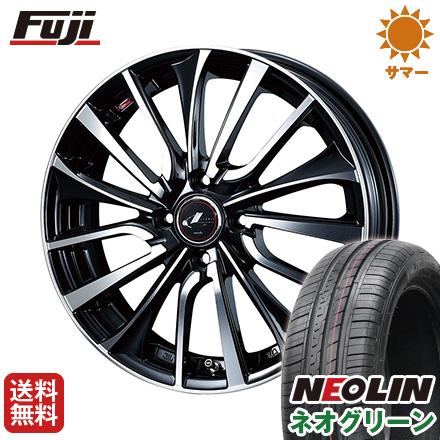 タイヤはフジ 送料無料 WEDS ウェッズ レオニス VT 4.5J 4.50-15 NEOLIN ネオリン ネオグリーン(限定) 165/50R15 15インチ サマータイヤ ホイール4本セット