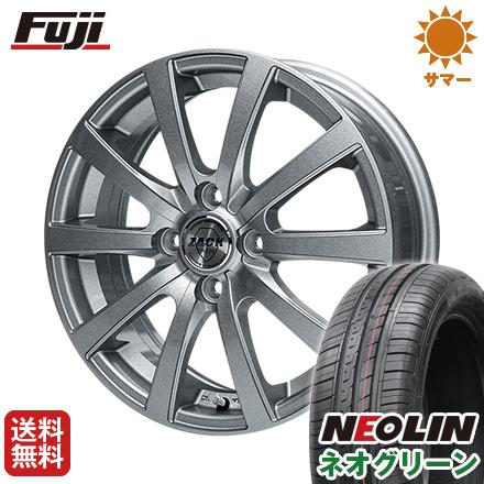 タイヤはフジ 送料無料 MONZA モンツァ ZACK JP-110 10スポーク 4.5J 4.50-14 NEOLIN ネオリン ネオグリーン(限定) 165/55R14 14インチ サマータイヤ ホイール4本セット