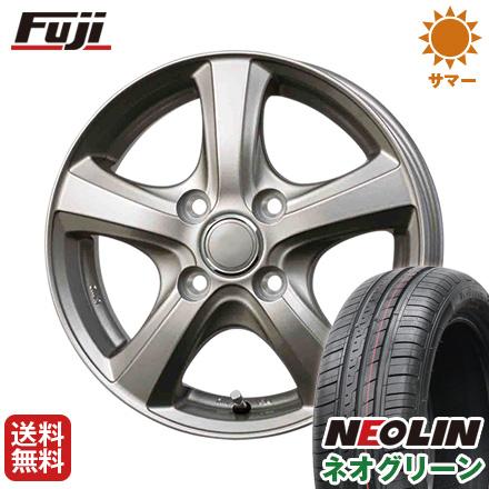 タイヤはフジ 送料無料 BRANDLE ブランドル F5 4.5J 4.50-14 NEOLIN ネオリン ネオグリーン(限定) 165/55R14 14インチ サマータイヤ ホイール4本セット
