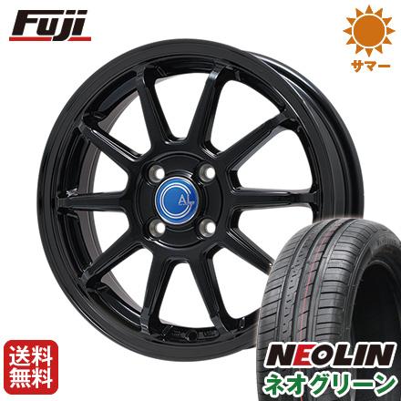 タイヤはフジ 送料無料 BRANDLE-LINE ブランドルライン カルッシャー ブラック 4.5J 4.50-14 NEOLIN ネオリン ネオグリーン(限定) 165/55R14 14インチ サマータイヤ ホイール4本セット