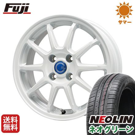タイヤはフジ 送料無料 BRANDLE-LINE ブランドルライン カルッシャー ホワイト 4.5J 4.50-14 NEOLIN ネオリン ネオグリーン(限定) 165/55R14 14インチ サマータイヤ ホイール4本セット