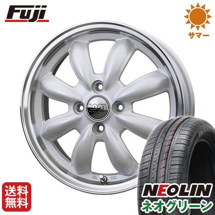 タイヤはフジ 送料無料 HOT STUFF ホットスタッフ ララパーム カップ 5.5J 5.50-15 NEOLIN ネオリン ネオグリーン(限定) 185/65R15 15インチ サマータイヤ ホイール4本セット