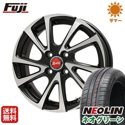 タイヤはフジ 送料無料 BIGWAY ビッグウエイ B-WIN ヴェノーザ10 5.5J 5.50-15 NEOLIN ネオリン ネオグリーン(限定) 185/65R15 15インチ サマータイヤ ホイール4本セット