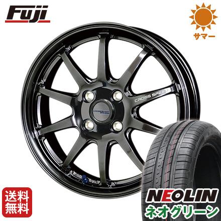 タイヤはフジ 送料無料 HOT STUFF ホットスタッフ クロススピード ハイパーエディションCR10 4.5J 4.50-14 NEOLIN ネオリン ネオグリーン(限定) 165/55R14 14インチ サマータイヤ ホイール4本セット