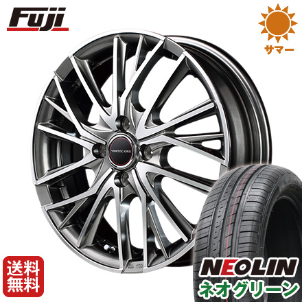 タイヤはフジ 送料無料 MID ヴァーテックワン ヴァルチャー 5.5J 5.50-15 NEOLIN ネオリン ネオグリーン(限定) 185/65R15 15インチ サマータイヤ ホイール4本セット