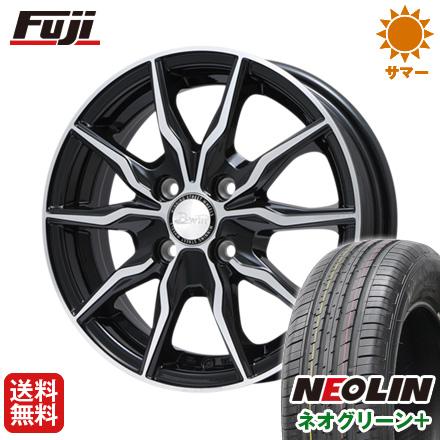 タイヤはフジ 送料無料 BIGWAY ビッグウエイ B-WIN KRX(ブラックポリッシュ) 6J 6.00-15 NEOLIN ネオリン ネオグリーン プラス(限定) 195/65R15 15インチ サマータイヤ ホイール4本セット