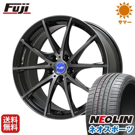 タイヤはフジ 送料無料 LEHRMEISTER レアマイスター LMスポーツクロス10 ブラックパールブラッククリア 7.5J 7.50-18 NEOLIN ネオリン ネオスポーツ(限定) 215/40R18 18インチ サマータイヤ ホイール4本セット