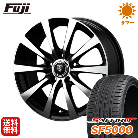 タイヤはフジ 送料無料 MID ユーロスピード BL-10 7J 7.00-17 SAFFIRO サフィーロ SF5000(限定) 225/50R17 17インチ サマータイヤ ホイール4本セット