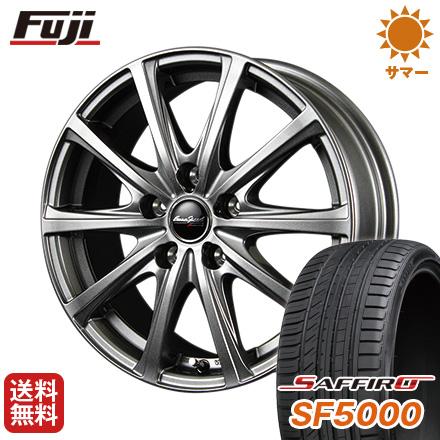 タイヤはフジ 送料無料 MID ユーロスピード V25 7.5J 7.50-18 SAFFIRO サフィーロ SF5000(限定) 235/55R18 18インチ サマータイヤ ホイール4本セット