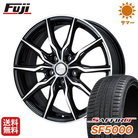 タイヤはフジ 送料無料 BIGWAY ビッグウエイ B-WIN KRX(ブラックポリッシュ) 7.5J 7.50-18 SAFFIRO サフィーロ SF5000(限定) 215/40R18 18インチ サマータイヤ ホイール4本セット