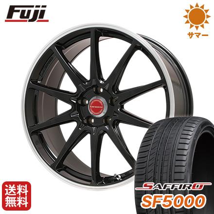タイヤはフジ 送料無料 LEHRMEISTER レアマイスター LMスポーツRS10(グロスブラックリムポリッシュ) 7.5J 7.50-18 SAFFIRO サフィーロ SF5000(限定) 215/45R18 18インチ サマータイヤ ホイール4本セット