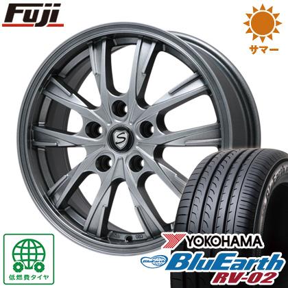 タイヤはフジ 送料無料 BRANDLE ブランドル 486 7J 7.00-17 YOKOHAMA ブルーアース RV-02 215/45R17 17インチ サマータイヤ ホイール4本セット