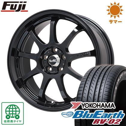 タイヤはフジ 送料無料 LEHRMEISTER レアマイスター LMスポーツファイナル(グロスブラック) 7.5J 7.50-17 YOKOHAMA ブルーアース RV-02 225/65R17 17インチ サマータイヤ ホイール4本セット
